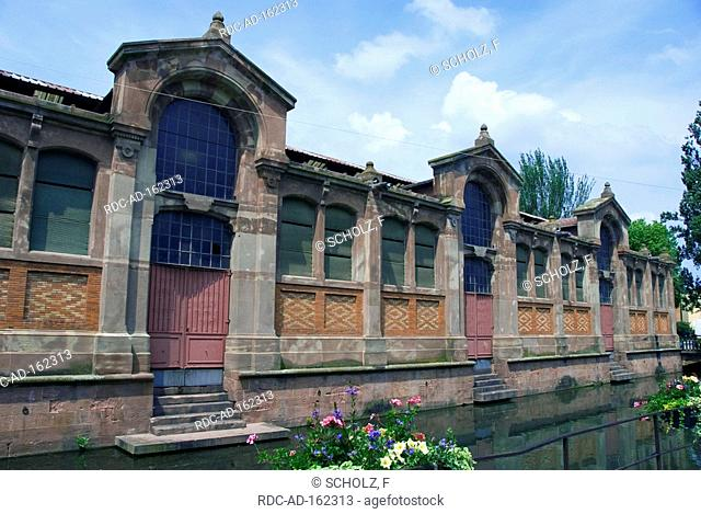 Market hall at river Lauch Colmar Alsace France