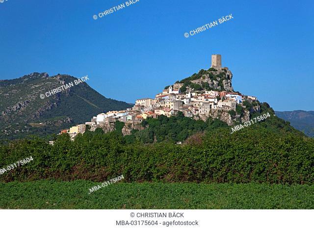 Posada with the Castello della Fava, Gallura, East sardinia, Sardinia, Italy, Europe