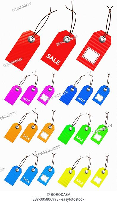 Collection of multicolored empty tags for marketing design. Perf