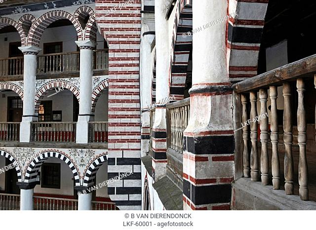 Study and detail of the nicely decorated architecture in the Rila Monastery, Rila Mountains, Bulgaria
