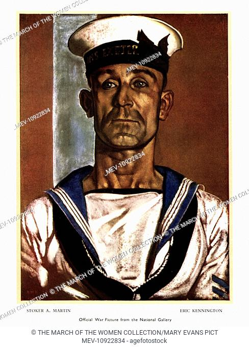 WW2 greetings card, Stoker Andrew Martin, by Eric Kennington, official war picture from the National Gallery. Martin, of HMS Exeter