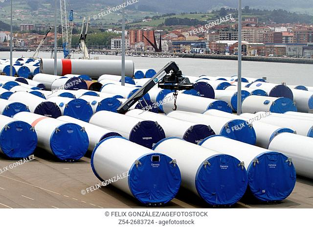 Aeolians storage at Avilés harbor, Asturias, Spain
