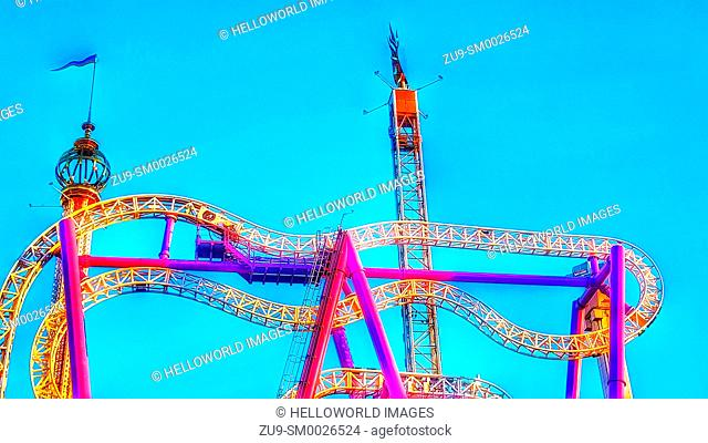 Roller coaster ride at Grona Lund Tivoli amusement park, Djurgarden, Stockholm, Sweden, Scandinavia