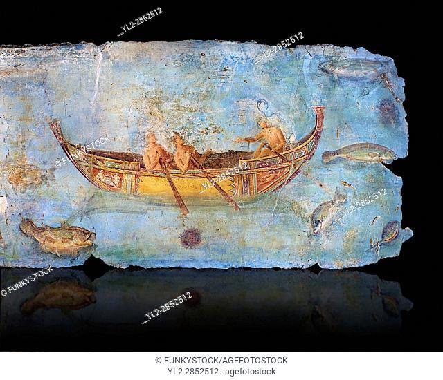 Roman Fresco with a boat decorated for a festival and marine life from the second quarter of the first century AD. (mosaico fauna marina da porto fluviale di...