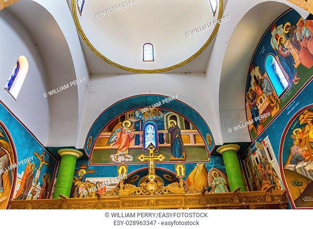 Frescoes Dome John Baptist Greek Orthodox Church Jesus Baptism Site John Baptist Bethany Beyond Jordan. Actual baptism site of Jesus