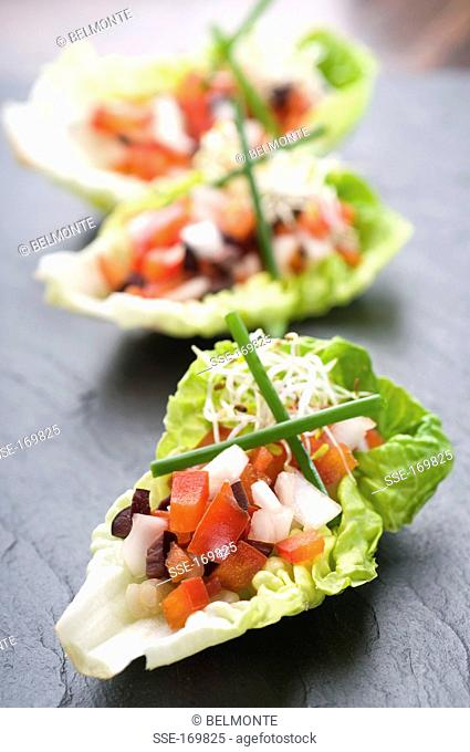 Raw vegetable and young shoot appetizers