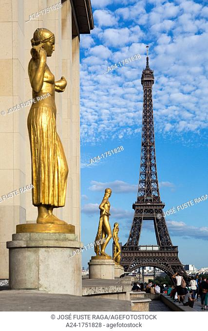 France , Paris City, Eiffel Tower from Trocadero