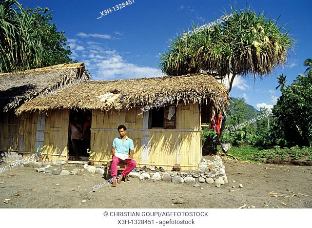 man in front of his house, Flores island, Lesser Sunda Islands, Republic of Indonesia, Southeast Asia and Oceania