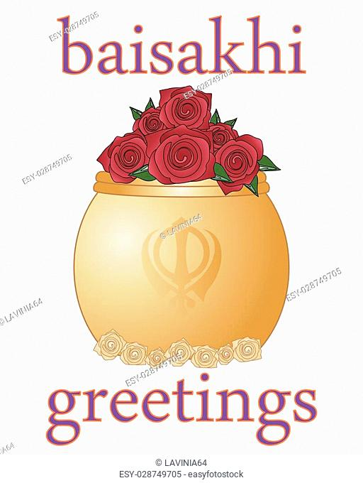 a vector illustration in eps 10 format of a baisakhi greeting card for the sikh religious festival with golde rose bowl on a white background