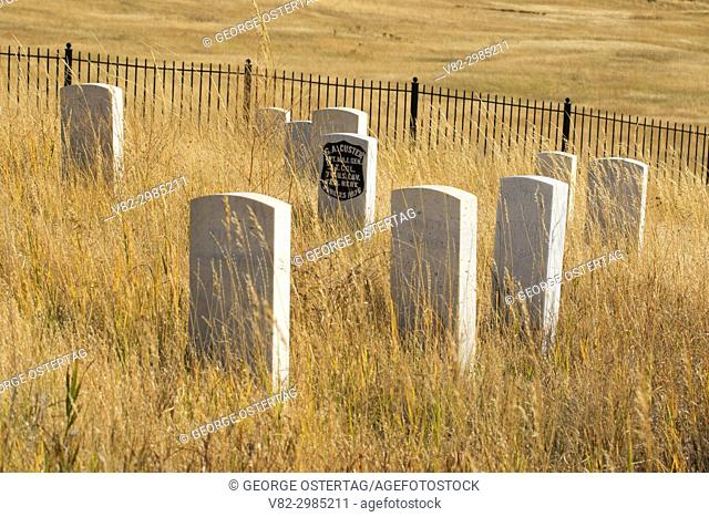 U. S. soldier headstone markers at Last Stand Hill, Little Bighorn Battlefield National Monument, Montana