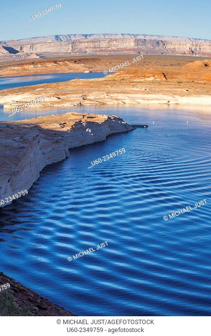 Ripples left from a passing boat at Lake Powell near Page, Arizona