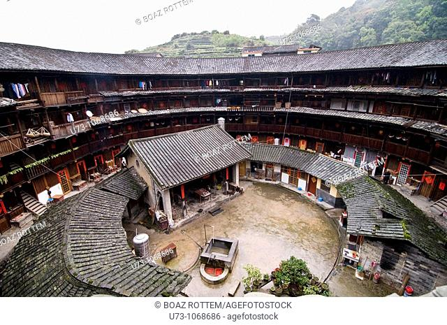 Inside a Tulou, A view down from this amazing gigantic building