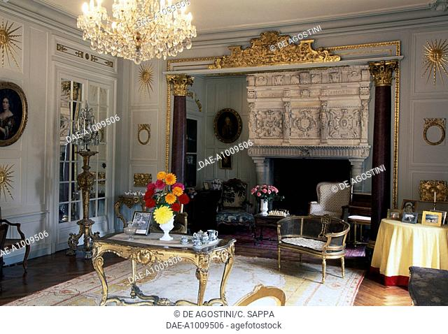 Living room of the Chateau de Terre-Neuve, Fontenay-le-Comte, Loire Valley (UNESCO World Heritage List, 2000), Pays de la Loire, France