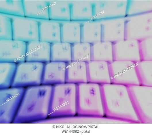 Horizontal motion blur curved interlaced keyboard background.