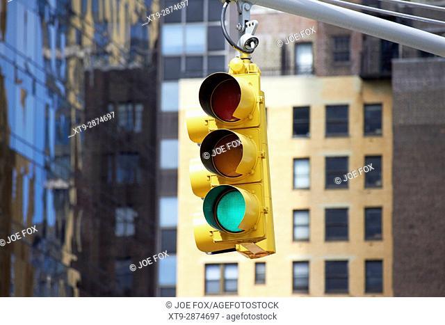 green go light on traffic lights New York City street signs USA