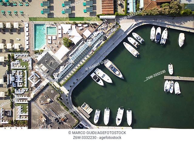 Aerial view of a small port for the storage of pleasure boats