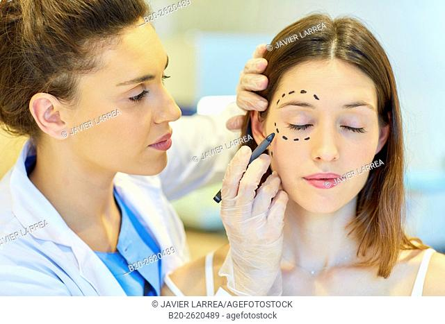 Facelift. Blepharoplasty. Surgery that aims to rejuvenate the look. It is to remove excess skin and bags of both eyelids and periocular tissue remodeling