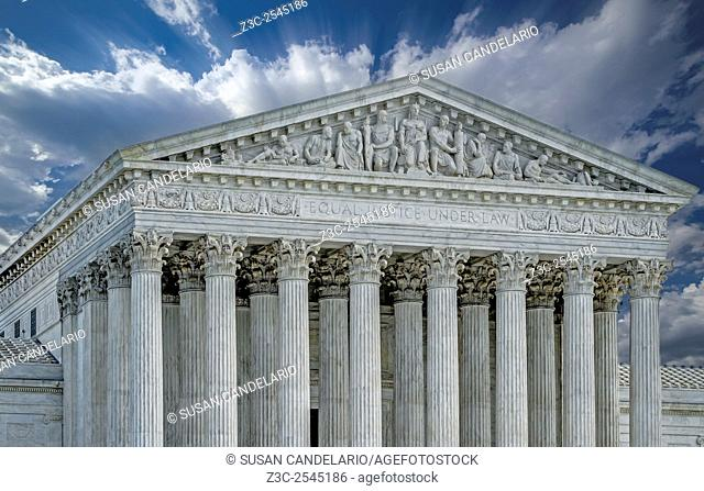 US Supreme Court II - United States Supreme Court facade in Washington DC. Equal justice under law is a phrase engraved on the front of the United States...