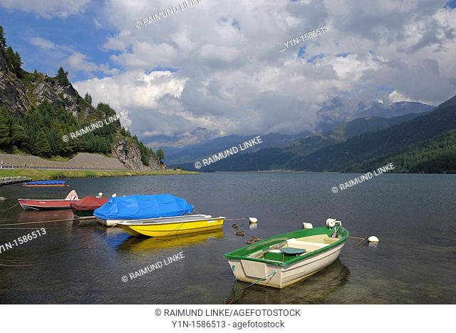 Boats on Lake Sils, Engadine, Grisons, Switzerland