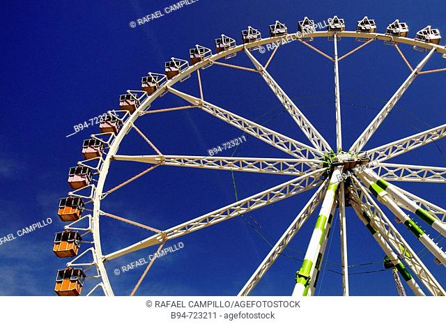 Big wheel at Feria de Abril (April fair), Barcelona. Catalonia, Spain