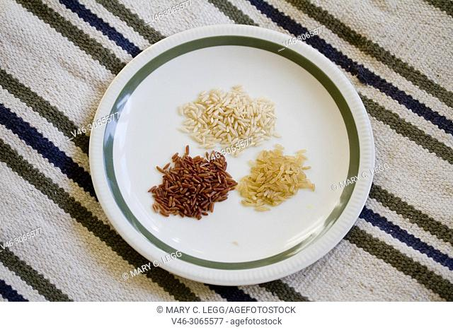 Three kinds of rice: natural, brown red on a plate