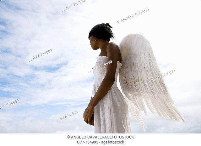 Caribbean  Dominican Republic  Samana Peninsula  Las Terrenas  Woman with angel's wings