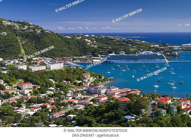 U. S. Virgin Islands, St. Thomas, Charlotte Amalie, elevated view towards Havensight cruise port