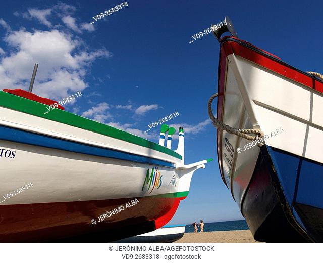 Fishing boats on the beach. Mijas Costa, Malaga province, Costa del Sol, Andalusia, Spain Europe