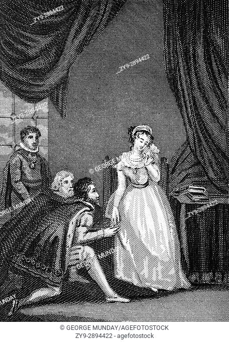 Lady Jane Grey declining the crown following the death of the 15-year-old King Edward VI in 1553. Edward's Catholic half-sister Mary was heir presumptive
