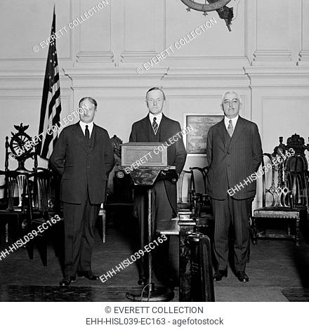 President Coolidge flanked by Party leaders at his 'Notification Ceremony'. He was formally notified of his nomination two months earlier at the Republican...