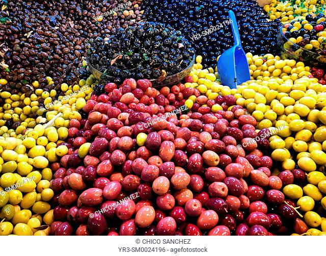 Olives in the Zoco market in Tangier, Morocco, Africa
