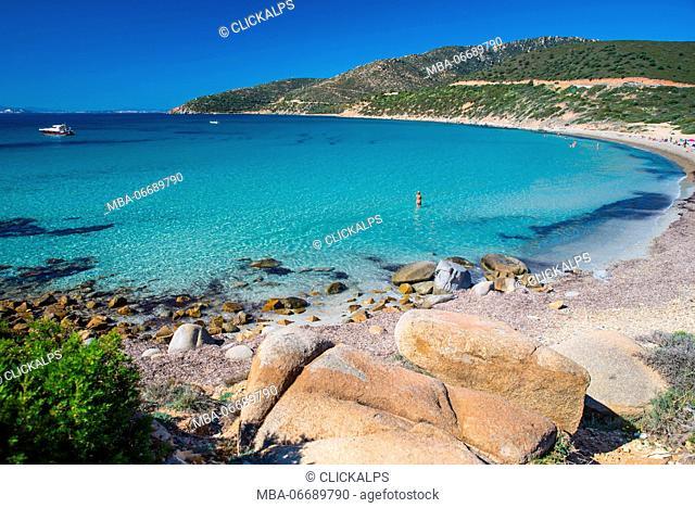 mari pintau beach, quartu sant'elena, cagliari province, sardinia, italy, europe