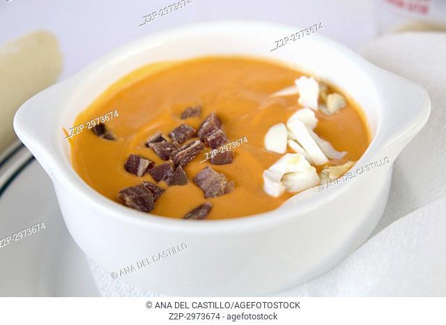Traditional spanish andalusian tomato cream soup - salmorejo. Salmorejo or gazpacho cream soup