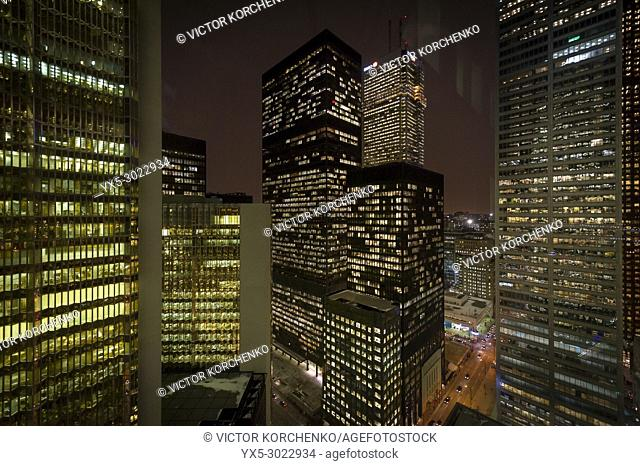 Toronto-Dominion Centre illuminated at night in Toronto downtown Bay Street banking district