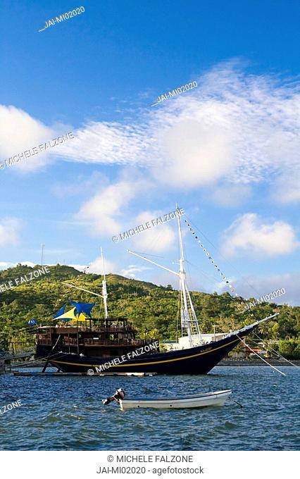 SV Mnuw, a 100 year old schooner from Indonesia now part of Manta Ray Resort, Colonia Harbour, Yap, Federated States of Micronesia