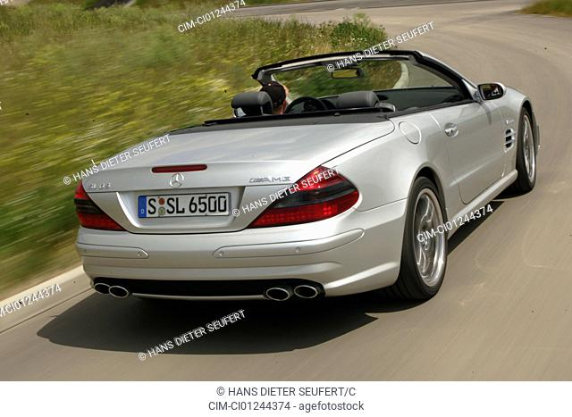 Car, Mercedes SL 65 AMG, Convertible, model year 2004-, silver, Tuning, open top, driving, diagonal from the back, rear view, country road