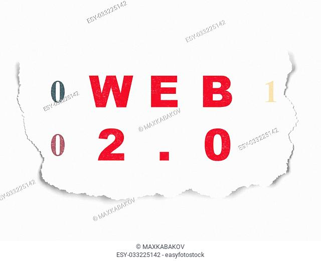 Web development concept: Painted red text Web 2.0 on Torn Paper background with Binary Code