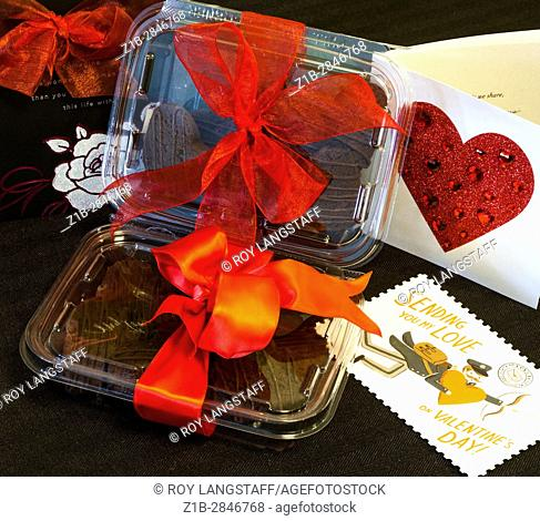 Valentine gift of heart-shaped cookies with red bow