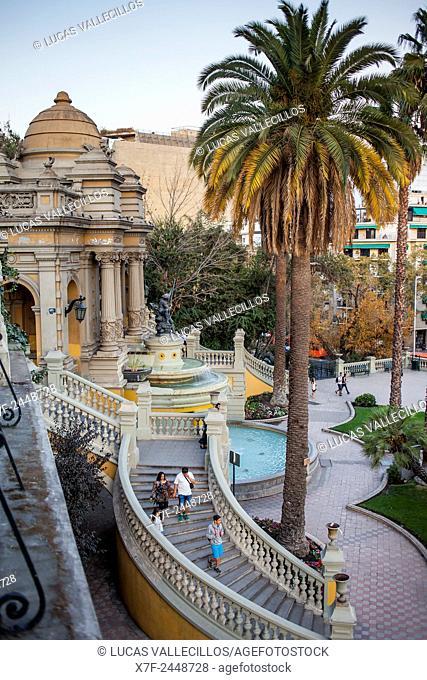 Neptune Fountain at the Alameda entrance of Cerro Santa Lucia,park, Lastarria neighborhood, Santiago. Chile