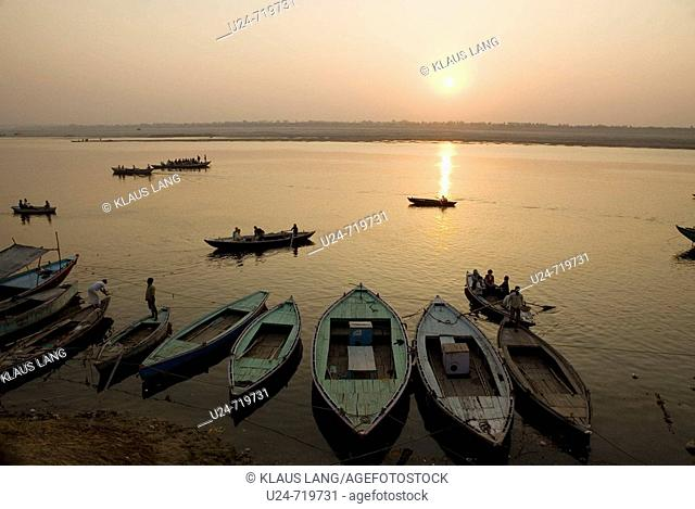 Boats on the Ganges River at Sunrise, Varanasi, Uttar Pradesh, India