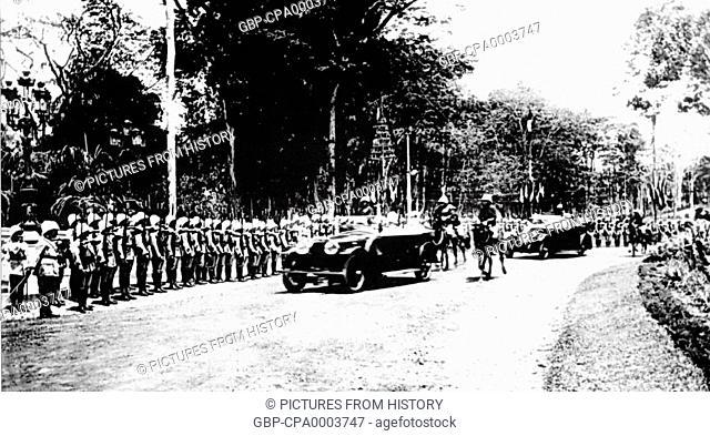 Vietnam: Honour guard on parade outside Norodom Palace, Saigon (1925)