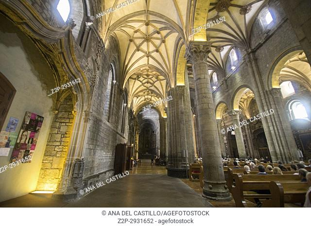St Peters cathedral in Jaca Huesca Aragon Spain Indoor of church and museum on August 13,2017