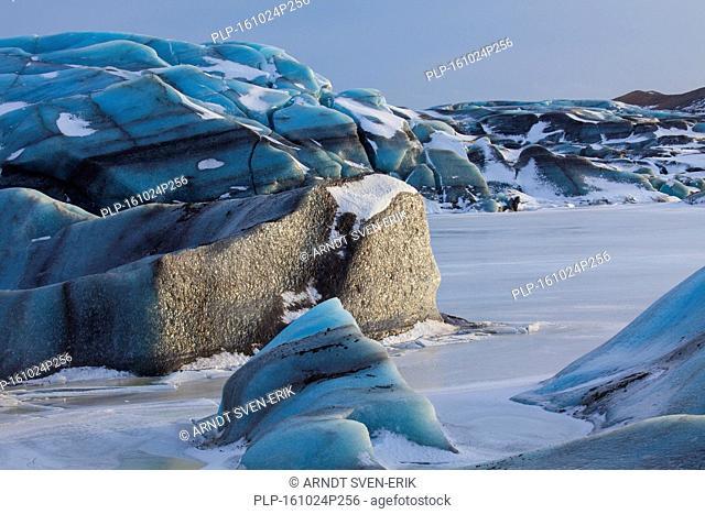 Blue ice formations on Svinafellsjökull, arm of the Vatnajökull, Iceland's largest glacier in winter