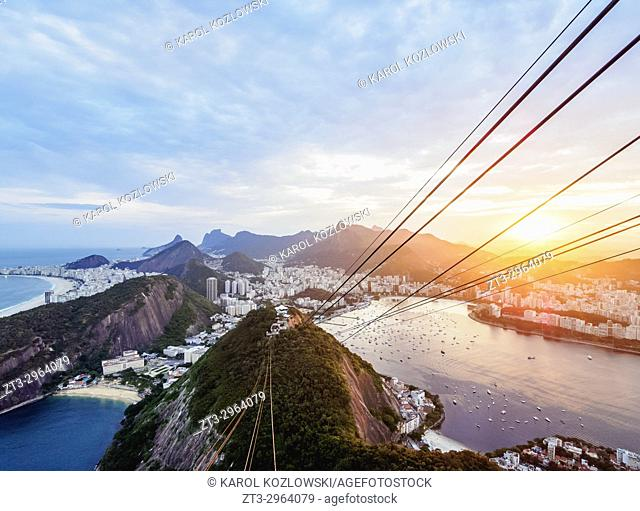 Skyline from the Sugarloaf Mountain at sunset, Rio de Janeiro, Brazil
