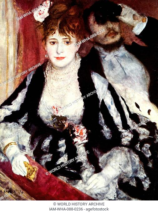 Painting titled 'The Loge' by Pierre-Auguste Renoir (1841-1919) a French artist. Dated 19th Century