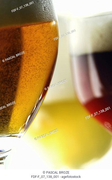 Close-up of three glasses of beer