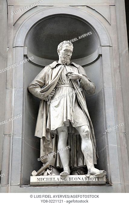 Statue of Michelangelo in Florence, Italy