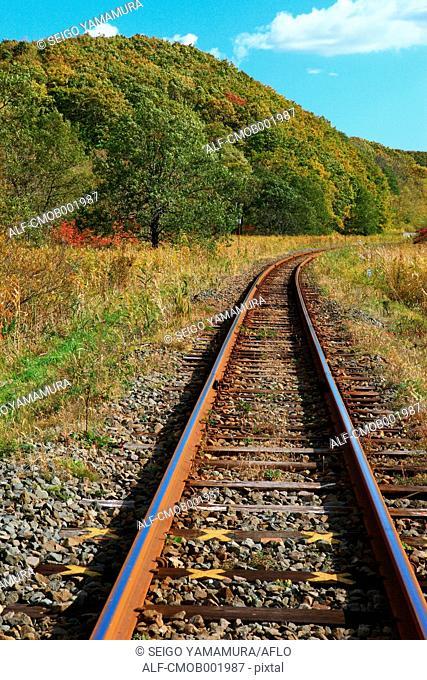 Railway in the countryside in Kushiro, Hokkaido