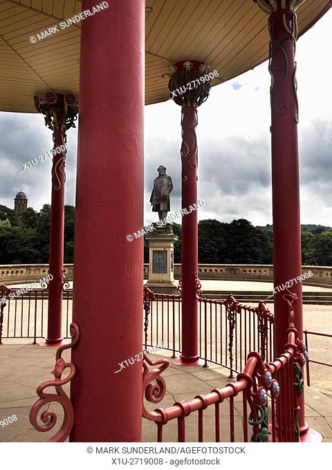 Titus Salt Statue from the Bandstand in Roberst Park Saltaire West Yorkshire England