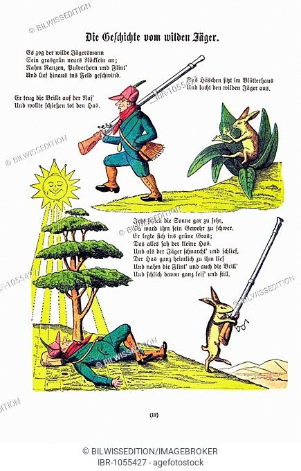 Book illustration, Die Geschichte vom wilden Jaeger, The Story of the Wild Huntsman, Der Struwwelpeter, Shaggy Peter, Dr. Heinrich Hoffmann, 1876